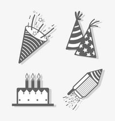 Line set happy birthday celebration icon vector
