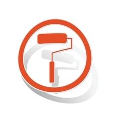 Paint roller sign sticker orange vector image