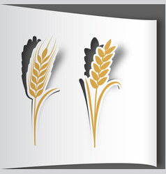 paper art cut stickers ears of wheat vector image