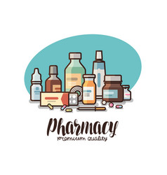 Pharmacy drugstore label medical supplies vector