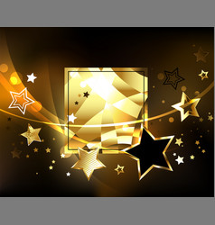 polygonal banner with golden stars vector image vector image