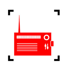 Radio sign red icon inside vector