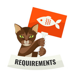 requirements from cat requiring food with protest vector image