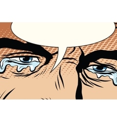 Retro man cries tears in the eyes vector image vector image