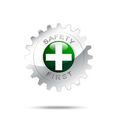Safety first symbol on gear icon vector