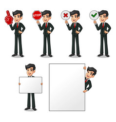set of businessman in black suit holding sign vector image vector image