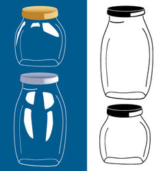 Set of glass bottle jar vector
