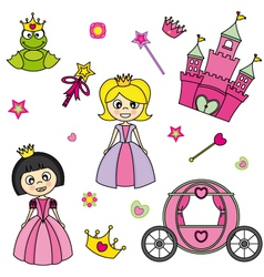 Set of stickers of princesses vector image