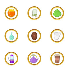 Tea and coffee icon set cartoon style vector