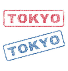 Tokyo textile stamps vector