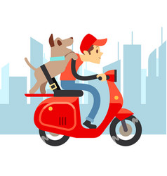 Travel with pets - young man on moto with dog and vector
