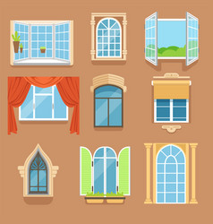 vintage and modern windows set in different styles vector image