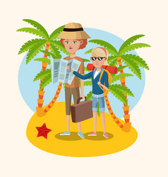 woman and girl map suitcase starfish palm sand vector image vector image