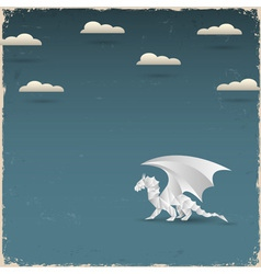 Origami dragon on grunge background vector