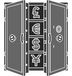 Stencil of safe with currency signs vector