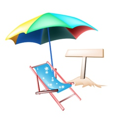 Beach chair and wooden placard vector