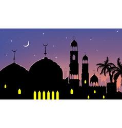 Horizontal cityscape arab city night banners vector