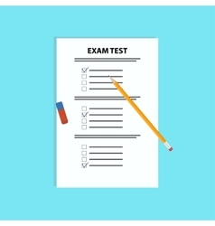 School exam test with pen and eraserflat vector