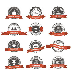 Emblems badges and stamps with ribbons - awards vector