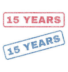 15 years textile stamps vector