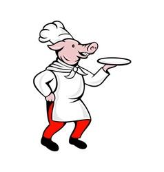 Cartoon pig chef cook baker serving platter vector