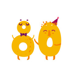 Cute animallike character number eighty 80 vector