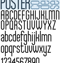 Poster black regular condensed font and numbers vector