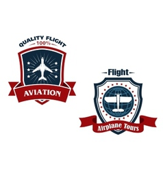 Airplane tours and aviation icons vector