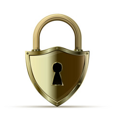 3d realistic closed padlock vector image vector image