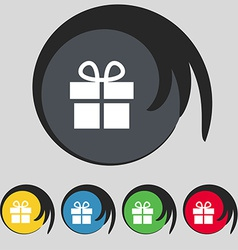 Gift box icon sign symbol on five colored buttons vector