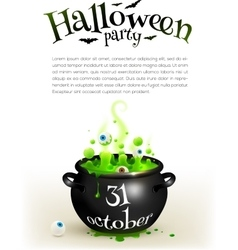 Black witches cauldron with green brew page vector