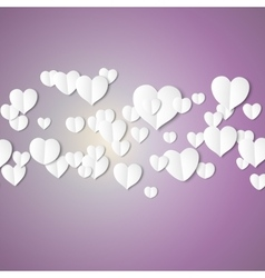 White paper hearts valentines day card on violet vector