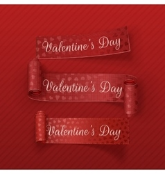 Valentines day scroll textile ribbons set vector
