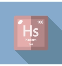Chemical element hassium flat vector