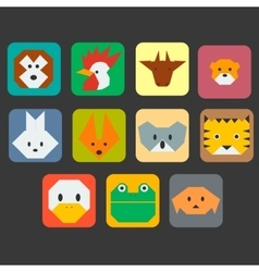 Cute animals faces simple icon set vector image