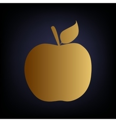 Apple sign golden style icon vector
