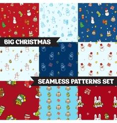 Big christmas seamless patterns set vector