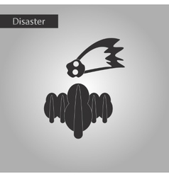 Black and white style icon falling meteorite vector