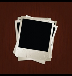 blank photos on wooden background vector image vector image