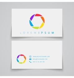Business card template camera shutter conceptual vector