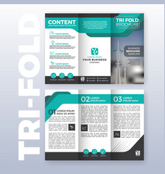Business tri fold brochure template design vector