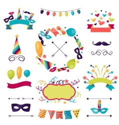 Celebration carnival set of icons decorations and vector image