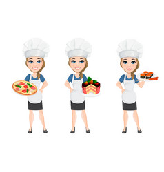 Chef woman set cute cartoon character cook with vector