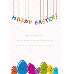 Colored happy eggs easter cards vector