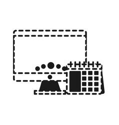 computer and calendar icon vector image vector image