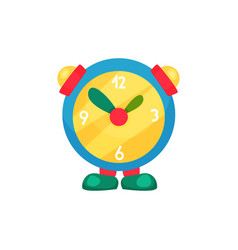 Cute children s alarm clock on legs learn to tell vector