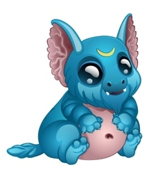 Cute toothy blue monster with big eyes and ears vector