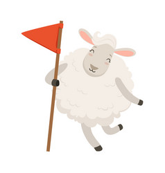 Cute white sheep character holding red flag funny vector