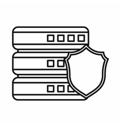 Database with gray shield icon outline style vector