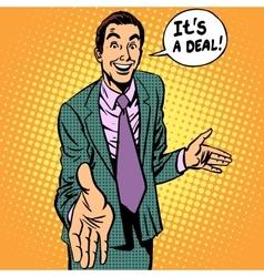 Deal man businessman handshake contract vector